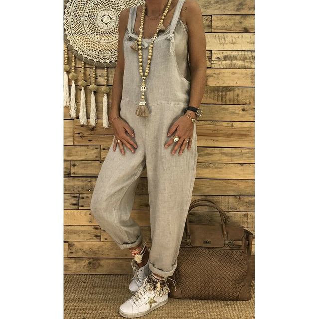2019 Women Casual Solid Strappy Dungarees Vintage Cotton Linen Loose Party Long Harem Overalls Rompers Jumpsuits 4