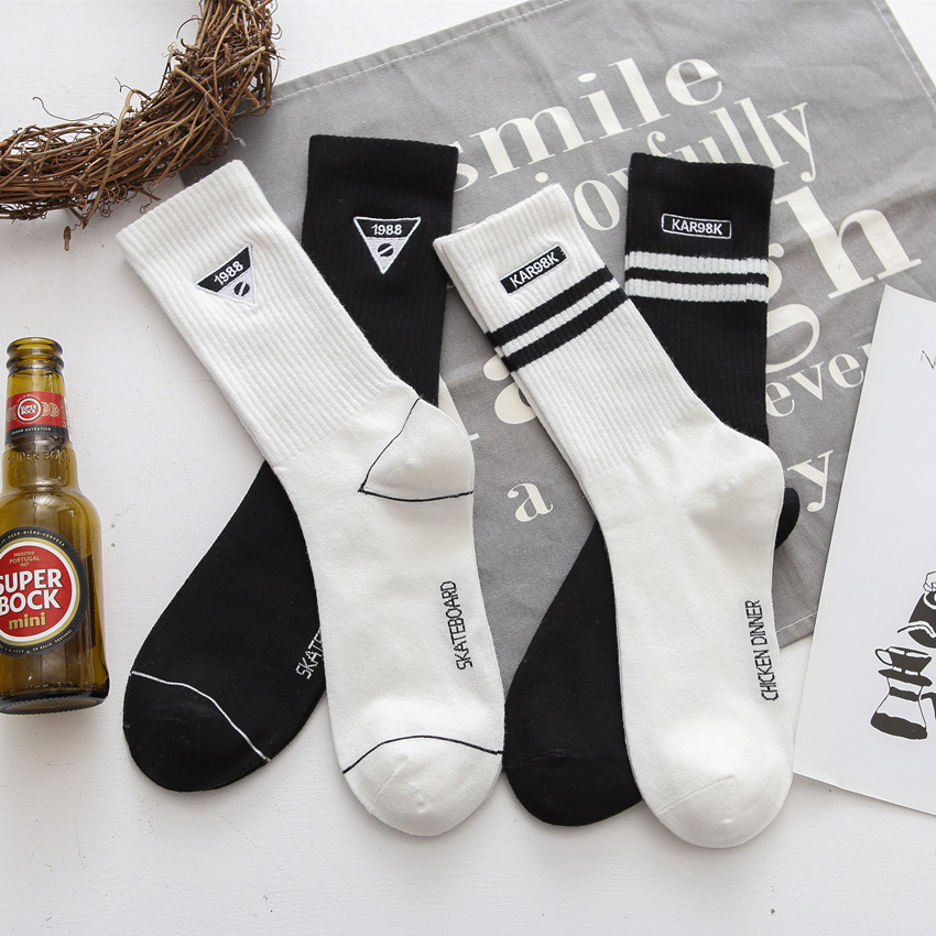 Socks Men Cotton Spring Autumn Winter Skateboard Embroidery Striped Sports Socks Trend Hip Hop Four Seasons White Black Man Sock