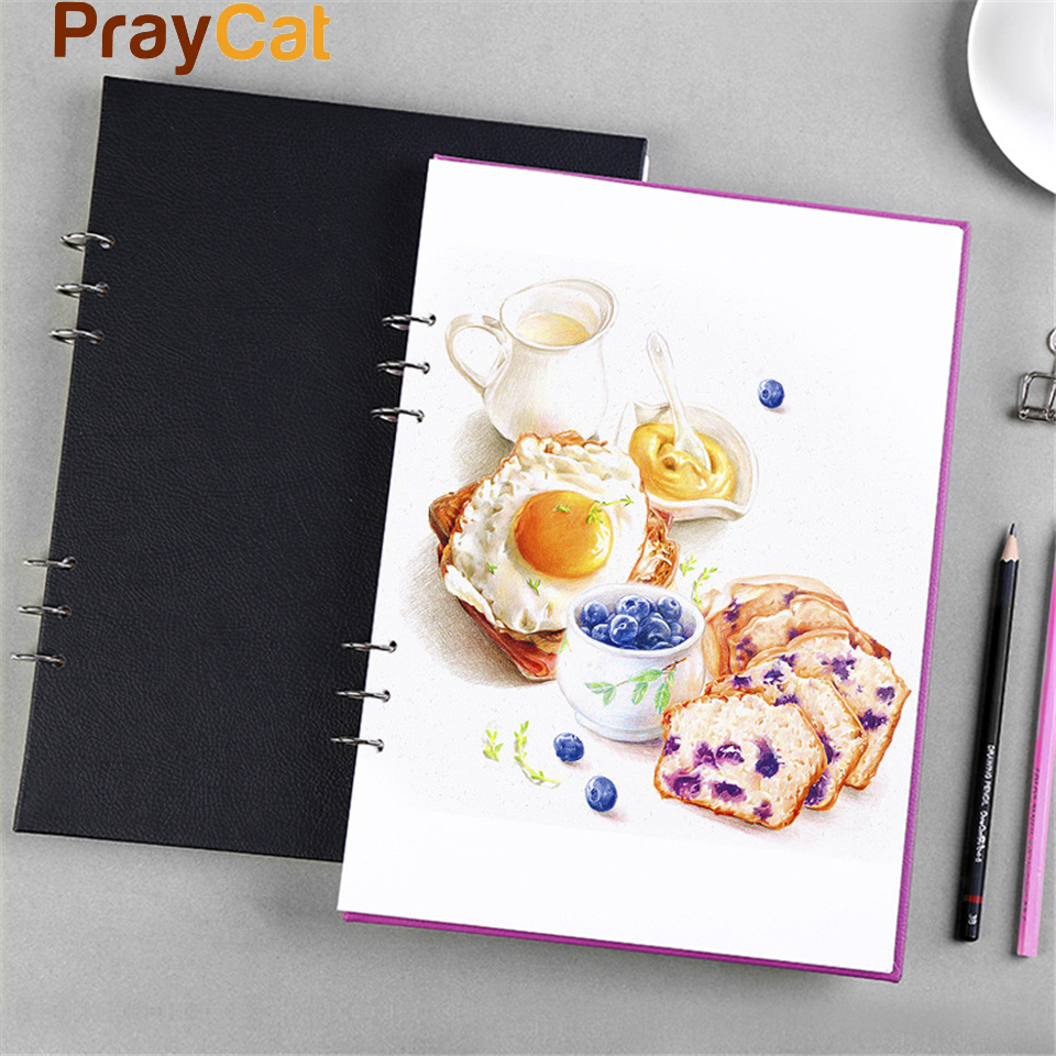 A4 Schetsboek Dagboek Spiraal Tekening Papier Marker Pad Graffiti - Notitieblokken en schrijfblokken bedrukken - Foto 1