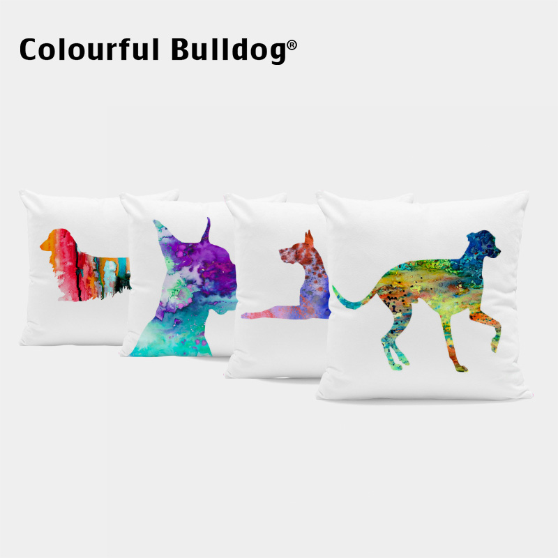 Dropshipping Colorful Watercolor Pillowcases Greyhound French Bulldog Cushion Covers Dachshund 17*17 In Bedroom Office Decorate