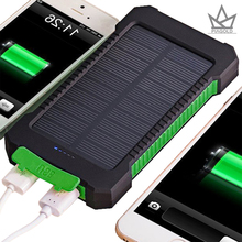 Solar Power Bank 20000mAh Dual USB Port Outdoor Waterproof Power Bank with LED Light compa