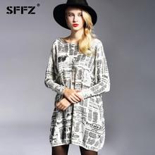 SFFZ ženske dolg pulover 2017 Nova jesen modna priložnostna volna mešanica pulover obleka časopis tiskanje pletene puloverji prevelike 6129