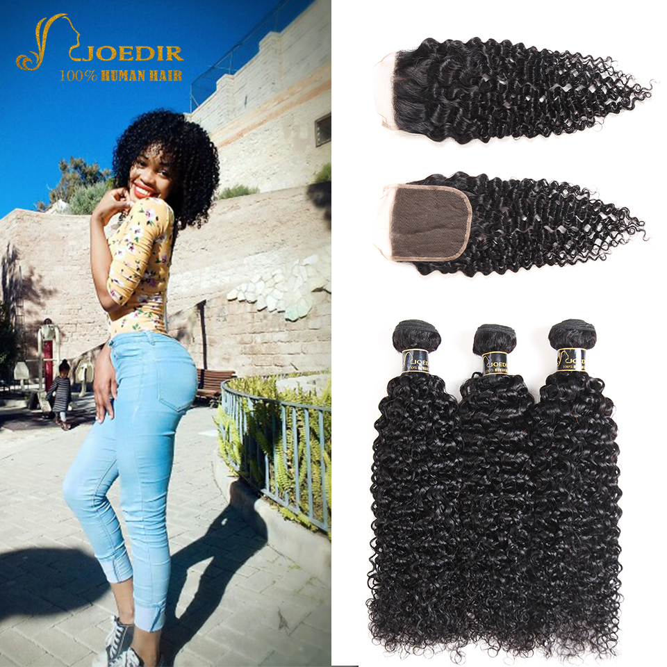 Joedir Hair Kinky Curly Bundles With Closure Brazilian Human Hair Weave 3 Bundles With L ...