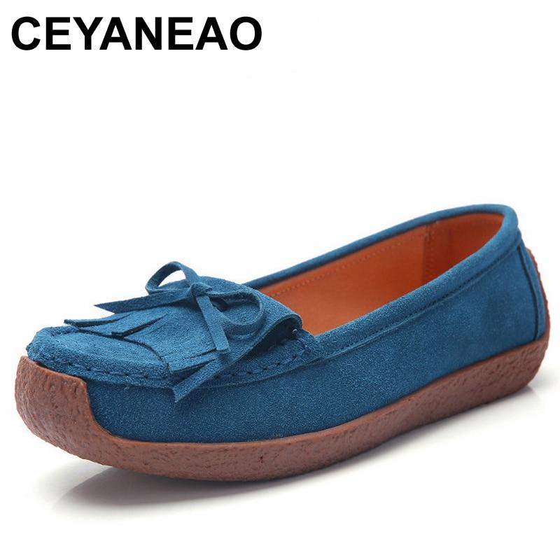 CEYANEAO Spring Autumn Woman Shoes Cow   Suede     Leather   Women Flats Tassel Women's Loafers Moccasins Female Shoe Slip On Footwear