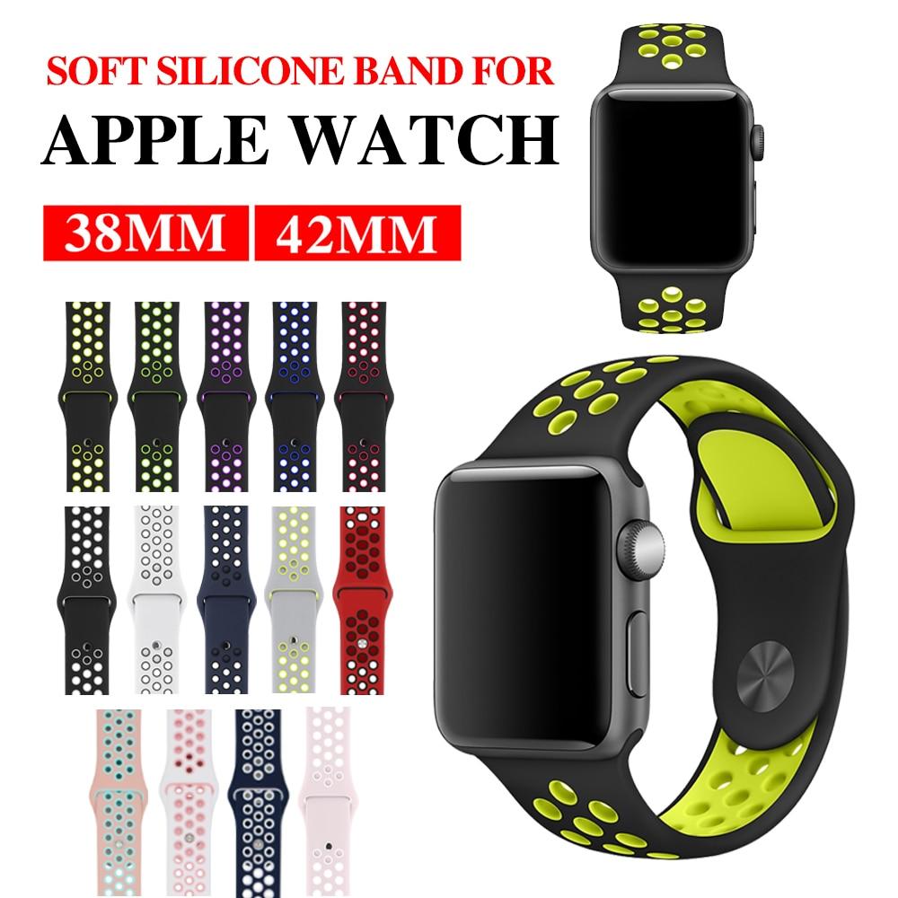 414e168a017 MU SEN esporte Silicone banda strap para apple watch nike 42mm 38mm  pulseira relógio de pulso banda pulseira Para iwatch apple cinta 3 2 1