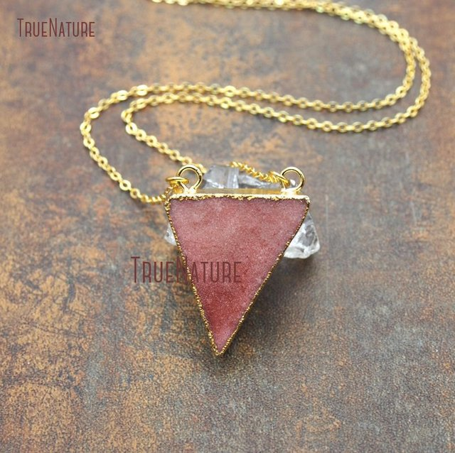 link triangle druzy colors stone orange women for color fresh crystal necklace in chains gold item