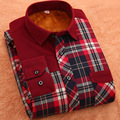 Thick Warm Flannel Men Plaid Shirts 2017 New Autumn Winter Luxury Slim Long Sleeve Brand Casual Business Fashion Dress Shirts