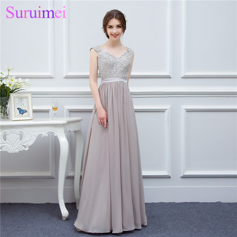 silver grey cap sleeve high quality applique floor length long chiffon   bridesmaid     dress   wedding event   dress   maid of honor