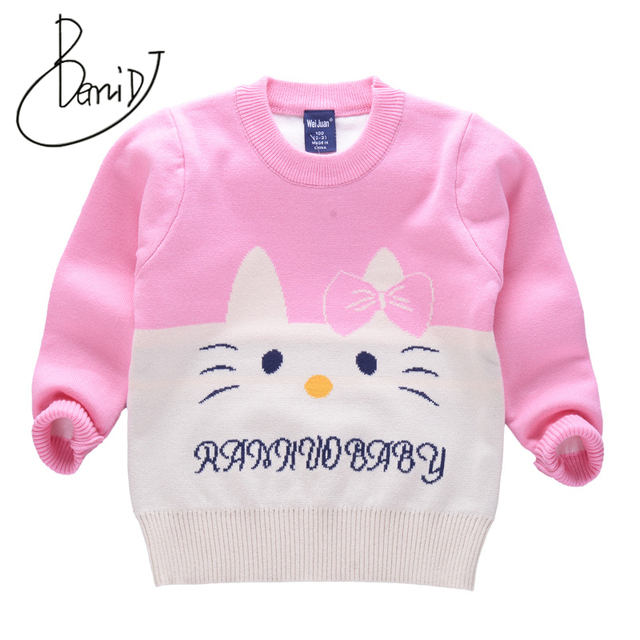 90d295c8c Girls pullover 2018 Brand Design Double Knit Padded Sweater for Baby ...