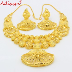 Image 3 - Adixyn Ethnic India Necklace Earrings Set Jewelry Women Girls Gold Color Arab/Ethiopian/African Wedding Accessories N03143