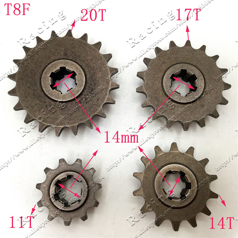 Front Gear Box Sprocket T8F 11 14 17 20T 20 Tooth Pinion For 47cc 49cc Minimoto Mini Dirt Pit Bike Moped Scooter throttle hand grips brake levers throttle housing set for goped gas scooter 43cc 47cc 49cc minimoto bicycle parts
