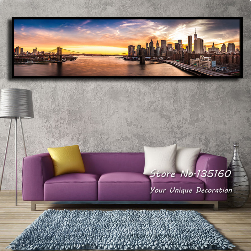Cheap Large Frames Part - 39: Brooklyn Bridge Panorama Canvas Painting Prints New York Nightfall City  Wall Picture For Modern Home Decor Huge Size (No Frame)