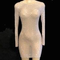 Блестящие кристаллы сексуальное платье Для женщин Вечеринка перспектива Роскошные платья выпускного вечера женский день Рождения Праздно