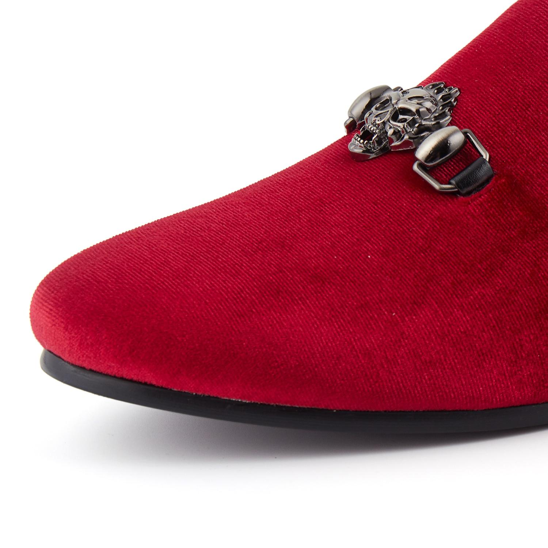 Dos Fivela Do Homens Sapatas Harpelunde Vestido 14 De Chinelos Plana 6 Confortáveis Preto Crânio Tamanho vermelho Veludo Preto Sapatos wxqtx0C4