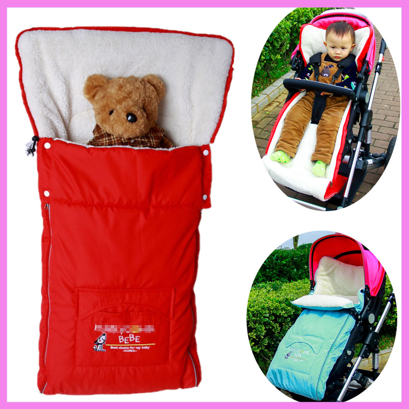 3 In1 Baby Stroller Foot Sleeve Winter Warm Sleeping Bag Baby Umbrella Car Foot Cover Cotton Cushion Footmuff Stroller Accessory