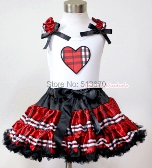 Black Red Check Plaid Pettiskirt Dress Valentine Plaid Heart Ruffle Bow Top 1-8Y MAPSA0226 contrast check plaid embroidered appliques sweatshirt page 1