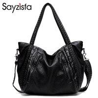 Sayzisfa Women Bags High Quality Soft PU Leather Top Handle Bag Fashion Women Messenger Bag Larger