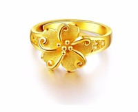 Fashion Pure 999 Solid 24K Yellow Gold Ring / Women's Flwer Ring / 5.35g Us Resize 4 10