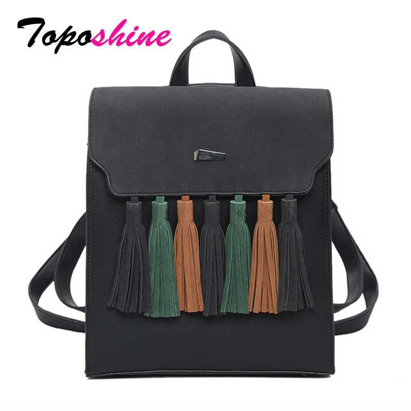 Toposhine Mode Tassel Hit Color Square Girls Ryggsäck Scrub PU Läder Kvinnor Ryggsäck Fashion School Bags 1617