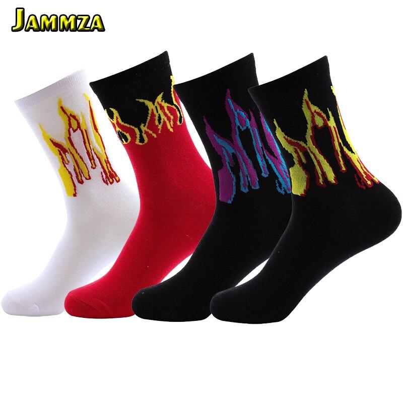 Men Fashion Hip Hop Design Red Flame Pattern Crew Socks Lifelike Jacquard Fire Classic Street Skateboard Cotton Long Sock Sporty