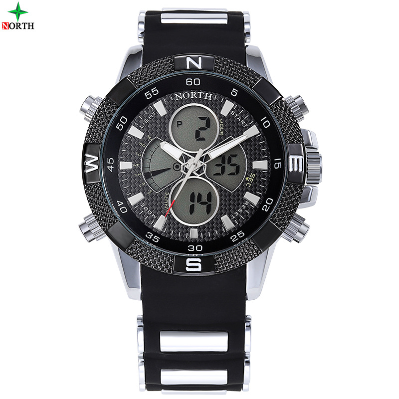 2017 Luxury North Men Sport Watch Fashion Unique Dual Time Wristwatch for Man Silicone Band 10
