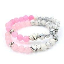 Unique Natural Pink Quartz & White Turquoise Stone Bead Heart Charm Elastic Yoga Bracelet & Bangle Jewelry for Women Girl stylish square fake turquoise bead bracelet for women