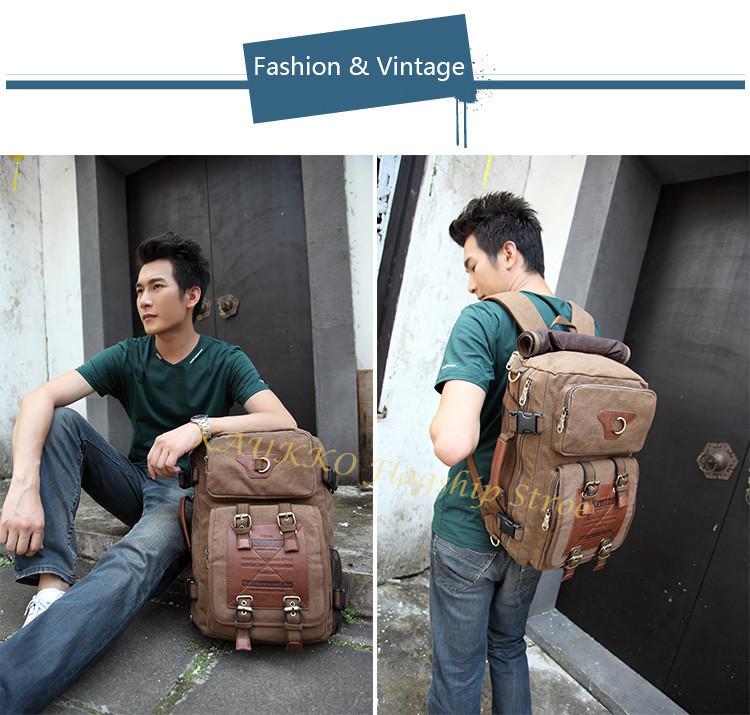 Marke Stilvolle Reise New vintage rucksack canvas backpack leisure travel schoolbag unisex laptop backpacks men backpack male 12