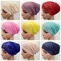 Бесплатная доставка кружева эластичный колпачок мешок волос мусульманские банданы хиджаб underscarf хиджаб оголовье