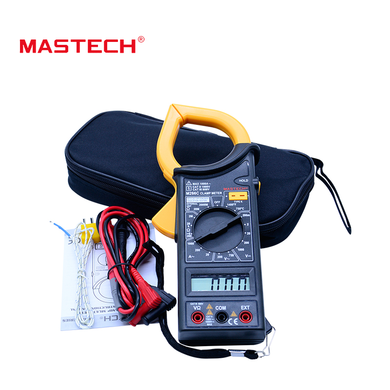 MASTECH M266C Digital Clamp Meter Voltmeter Ohmmeter ACVoltage AC Current Resistance Temp Tester Detector with Diode multimeter mastech ms2001c digital clamp meter ac dc voltage tester detector with diode and backlight