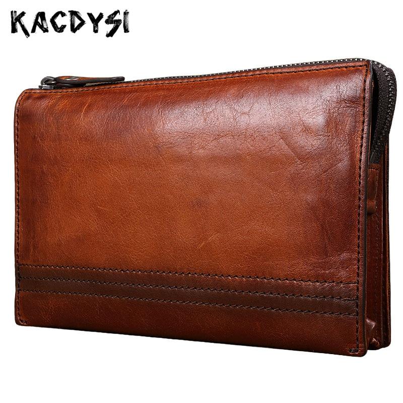 Genuine Leather Designer Vintage Mens Wallet Large Capacity Day Clutches Multifunction Zipper Purse Wallet Card Holder