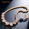 FEEROW Romântico Flores Rodeado Mulheres/Senhoras Conjunto de Jóias de Luxo Banhado A Ouro Jóias Com Zirconia Cúbico Para Pageant FWSP140