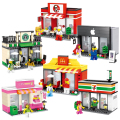 City Mini Series Quality  Apple and McDonalds Shop Model Building Blocks Kids Toys