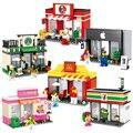 Mini cidade loja de qualidade da série apple e mcdonalds modelo blocos de construção de brinquedos infantis