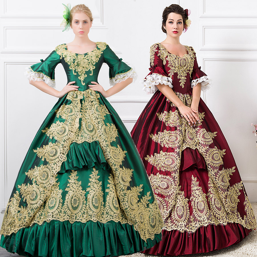 Popular victorian wedding dresses buy cheap victorian wedding - Global Freeshipping 18th Century Marie Antoinette Victorian Period Renaissance Rococo Belle Burgundy Dress