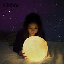 Светодиодный светильник-Луна с яркостью земли, разноцветная Настольная лампа с принтом 11 см, Ночной светильник, лунный светильник, домашний декор, рождественский подарок, Лунная лампа