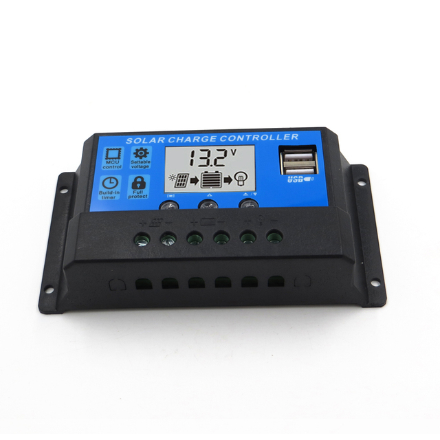 PWM Solar Charge Controller 10A 20A 30A 12V 24V Auto work with LCD Dual USB 5V Output Solar Cell Panel Charger Regulator