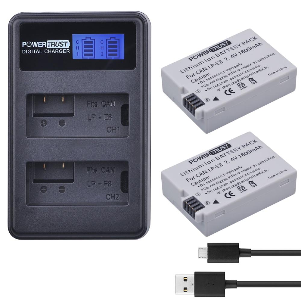 2x1800 mah LP-E8 LPE8 LP E8 Caméra Batterie AKKU et Chargeur pour Canon EOS 550D EOS 600D EOS 700D EOS Rebel T2i T3i T4i T5i X4 X5
