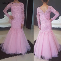 Pink Lace Girls Pageant Gown Long Sleeve Wedding Flower Girl Dress Ankle Length Tulle Kids Birthday Party Dresses Size2 16Y
