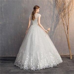 Image 3 - Ezkuntza 2019 ダイヤモンドのレースのウェディングドレス o ネックビーズボールガウンシンプルな格安のウェディングドレス王女のウェディングドレス