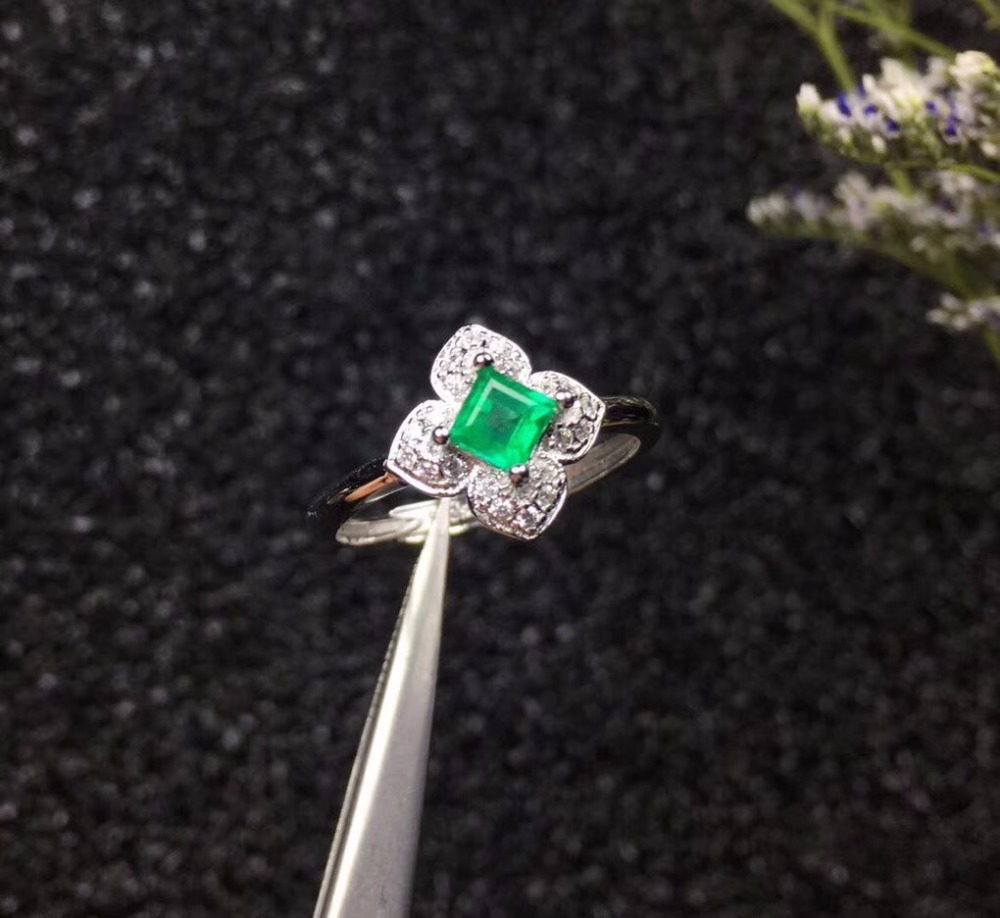Natural Emerald Flower Rings Women 925 Sterling Silver Fine Jewelry 4 4mm 1 Pcs Gemstone with