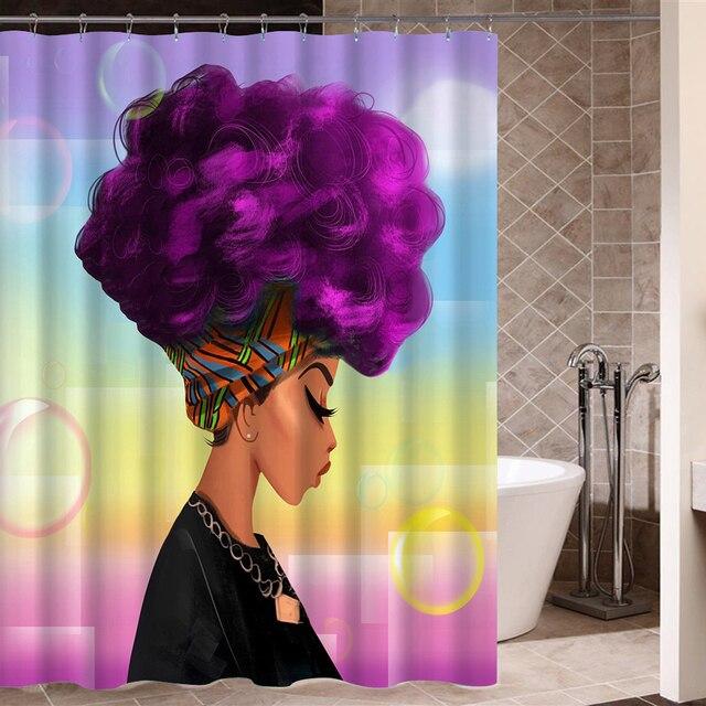 Afro Tenda Della Doccia Donna Africana con Viola Capelli Acquerello Ritratto Pic