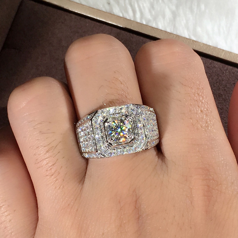 Big Zircon Stone Bling Silver Band Rings for Man Women Wedding Engagement Rings Fashion Jewelry 2019 New in Rings from Jewelry Accessories