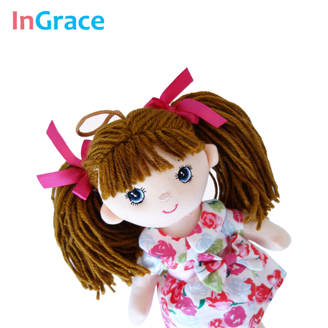 InGrace soft fashion girls mini dolls plush and stuffed flower dress girls toys birthday gifts baby girl's first doll mini 25CM