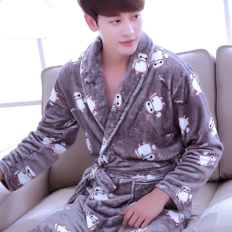 Bathrobe Men Winter Robe Plush Thick Flannel Long Sleeve Belt Kimono Men's Casual Home Sleepwear 2019 Sexy Man Pyjamas