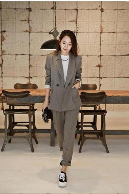 Otoño Hanban moda casual juego de la señora traje de pantalones Harlan temperamento era delgada de dos piezas suit-do869