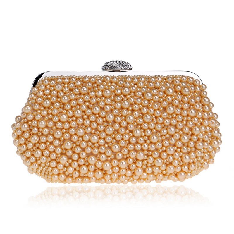 Chic Evening Clutch Full of Handmade Pearl for Women, Design for Wedding and Party chic camouflage pattern and butterfly frame design sunglasses for women