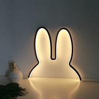 LED Night Light USB Charging Rabbit Eear Shape Neon Sign Neon Night Lights Wall Decor Lamp For Baby Kids Room Birthday Xmas Gift
