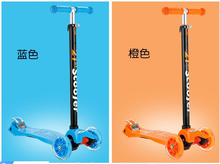 3 levels Height Kids' Foot Scooter Portable Kick Scooter PU Wheels flash Scooter for Children