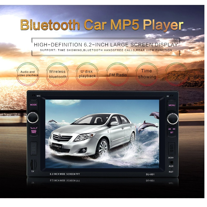 2 Din Car Radio MP5 Player 6'' HD Touch Screen Bluetooth Stereo Radio FM/MP4/Audio/Video/USB Auto Electronics autoradio charger 7 hd bluetooth touch screen car gps stereo radio 2 din fm mp5 mp3 usb aux z825
