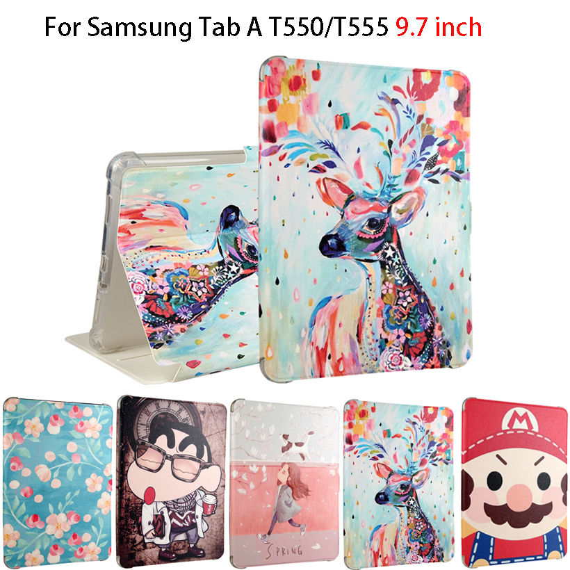 Fashion Painted Flip Silicone Leather Cases For Samsung Galaxy Tab A 9.7 T550 T555 P550 Smart Case Cover Funda Sleep/Wake up fashion painted flip pu leather for samsung galaxy tab a 10 1 sm t580 t585 t580n 10 1 inch tablet smart case cover pen film